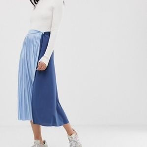 ASOS Twist Knot Front Midi Skirt in Color Block